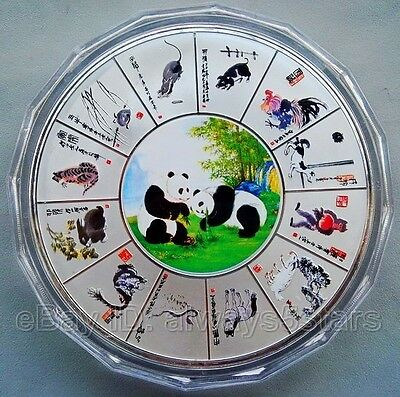 Lovely Chinese Giant Panda & Lunar Zodiac 1kg Huge Colored Silver Coin Token