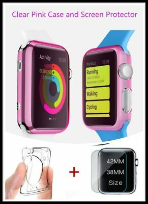 Apple Clear Pink iWatch 42mm Soft Protective Case with 2 Free Screen Cover