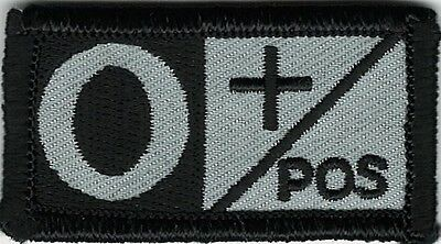Grey Gray Black Blood Type O+ Positive Patch VELCRO® BRAND Hook Fastener Compat