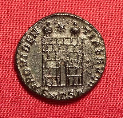 Ancient Roman Constantinus Silvered Bronze AE3 Coin , Camp Gate, Extra Patina!