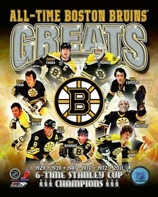 Boston Bruins All-Time Greats Stanley Cup 6 Time Champions Composite Photo 8x10