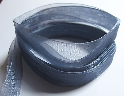 3 metres of (pre cut) 15mm wide PEWTER GREY Woven Edge Organza Ribbon