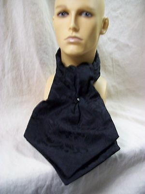 Gothic Black Ascot Tie Collar Jabot Wizard Count Dracula Steampunk‏ Baroque King