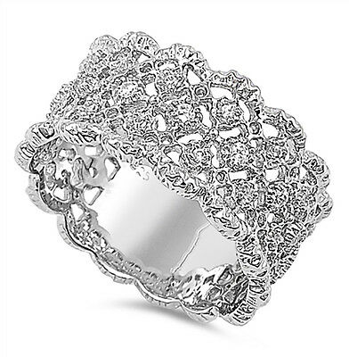 Sterling Silver .925 Women's CZ Vintage Antique Eternity Wedding Band Ring 5-10