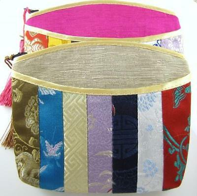 "Large Lined Patchwork Jewelry Zipper Bags with Tassel 6"" x 5"" (Set of 2)"