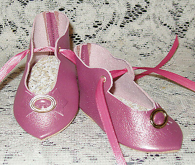 """French Style Leather Doll Shoes for 3 1/4"""" foot x 1 5/8""""~ Rose Pearl"""