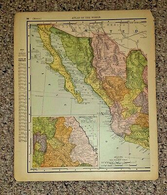 Vintage Map MEXICO b/w BRITISH COLUMBIA CANADA 1896 Atlas of the World page