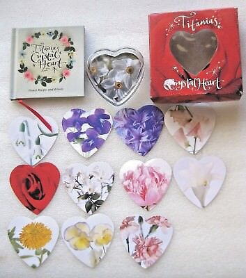 "PAPERWEIGHT CRYSTAL HEART "" TITANIA'S ""  Book flower recipes & Rituals. MIB"
