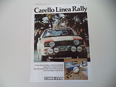 advertising Pubblicità 1981 CARELLO LINEA RALLY e AUDI QUATTRO
