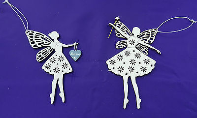 Fairy Christmas Ornaments.2 Wooden Fretwork Fairy Christmas Tree Hanging Ornaments Decoration
