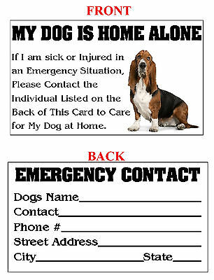 Custom Printed Pet Dog Cat Home Alone Emergency ID Wallet Medical Alert Cards