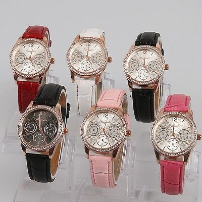 6pcs Mixed Color Lots Women Lady Girls Leather Quartz Crystal Wristwatches U58M6