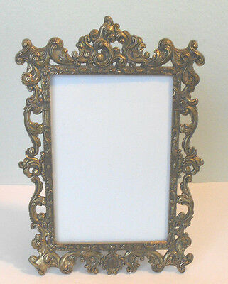 Vintage small ornate brass frame~Freestand or Hang~made in Italy