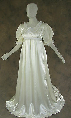 Ivory Regency Jane Austen Style 2 Piece Satin Ball Gown Costume Small Cosplay