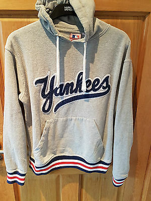 New York Yankees Nba Official Majestic Baseball Hoodie Grey Size Medium