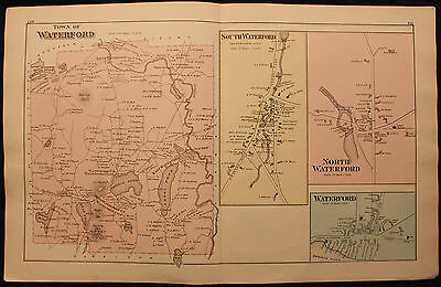 Original 1880 Caldwell & Halfpenny Maine Oxford County Waterford Map