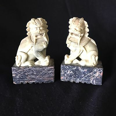 Pair of great old chinese carved stone foo dogs guardian lions
