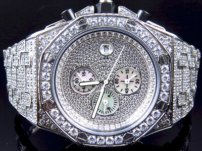 Mens Jojino/Joe Rodeo/Jojo XL White Steel 47mm Simulated Diamond Watch 43MM