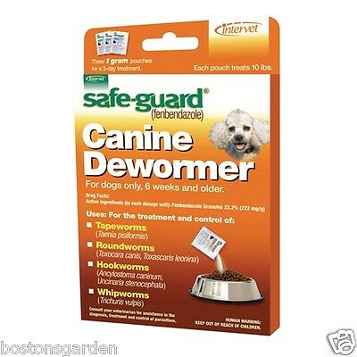 New Safe-Guard Canine Dog Dewormer, Tapeworms 3-1 Gram Pouches, Treats 10lbs