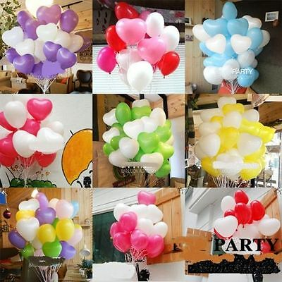 50/100pcs Colorful Heart Shaped Latex Balloons Wedding Birthday Party Decoration