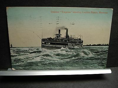 Steamer EMPRESS Lachine Rapids, Montreal, Quebec, Canada Naval Cover 1911
