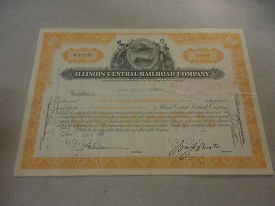1954 Illinois Central Railroad Company Stock Certificate #NC197273 100 Shares