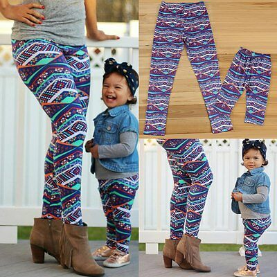 Family Matching Mother Daughter Kids Baby Printed Pants Comfy Trousers Leggings