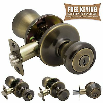 Pro-Grade Classic Door Knob Handle Entry Deadbolt Home Hardware, Antique Brass