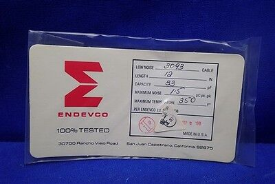 "ENDEVCO 3090C CABLE 12"" CAP: 33pF, NOISE 1.5 pC 350F°  NEW OLD STOCK NOS UNUSED"