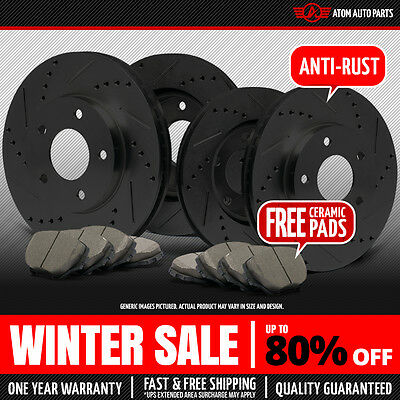 (Front+Rear) BLACK Slotted Drilled Rotors & Ceramic Pads Fit Nissan Altima