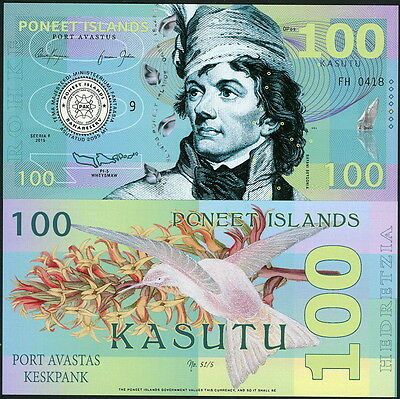Poneet Islands 100 Kasutu 2015 Polymer Fantasy Art Banknote Note- Hummingbird!