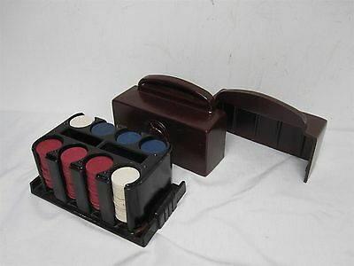 180 VINTAGE CLAY POKER CHIPS with SCOTTY DOG with ART DECO CLAY CASE w HORSE
