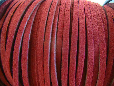 10 yards Genuine Leather Flat Suede Cord 3mm Trim/Sewing/Lace T163-Burgundy Red