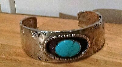 Vintage Southwest .925 Sterling Silver Cuff Bracelet With Turquoise 61.5 Gr