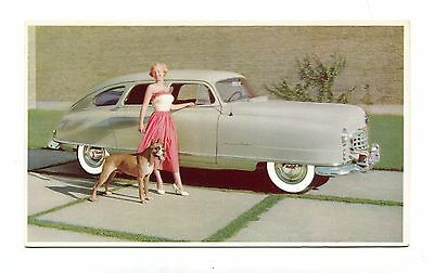 Vintage Postcard NASH AIRFLYTE Auto Car 1950 grey woman w boxer dog