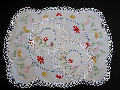 Vintage Hand Embroidered Three Piece Doily Set - Pretty Flowers Gerbera