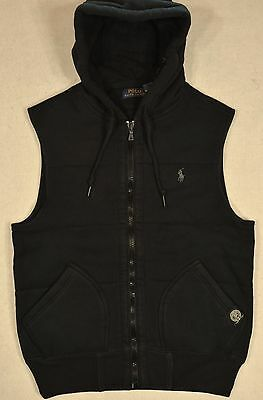 Polo Ralph Lauren Vest Quilted Lined Puffer Hoodie L LARGE Black NWT $145
