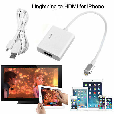 Lightning to HDMI Cable Digital AV Adapter for iPhone iPad iPod Screen Mirroring
