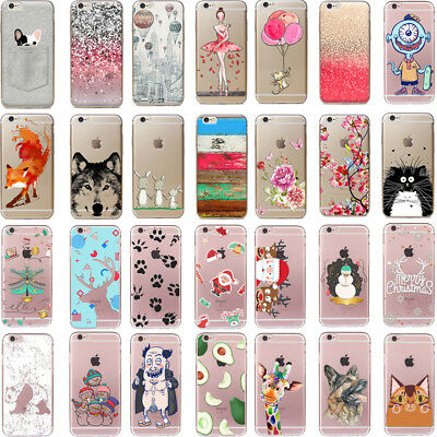 Patterned Soft Silicone TPU Back Case Etui Housse Coque For iPhone 7 6 6s Plus