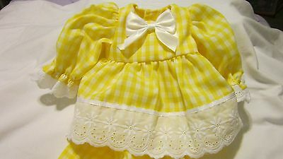 "Yellow Gingham Dress/Bloomers Fits 17"" Lee Middleton, 15"" AG Bitty Baby"