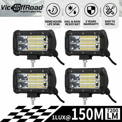 4X 5inch LED Work Driving Light Bar Cree Flood Beam Offroad 4WD Reverse Lamp