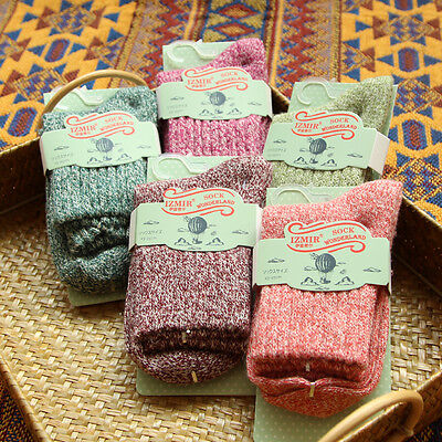 5 Pairs Winter Women Kids Wool Thick Warm Cashmere Soft Casual Socks Comfortable