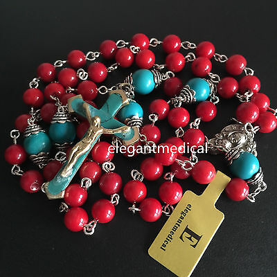 Red Coral beads & Turquoise cross Catholic 5 DECADE rosary Crucifix Necklace