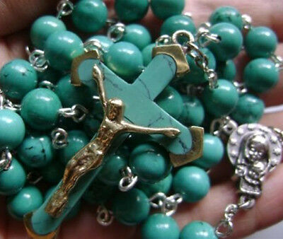 Turquoise BEADS & Turquoise CROSS Crucifix 5 DECADE ROSARY Catholic NECKLACE