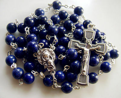Natural Real Lapis lazuli beads Rosary Cross CRUCIFIX CATHOLIC NECKLACE gift box