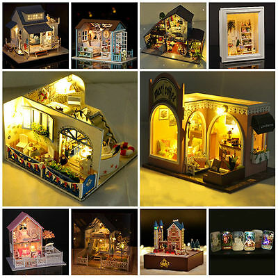 DIY Handcraft Miniature Wooden Dollhouse Kit with Led Light&Furniture Xmas Gift