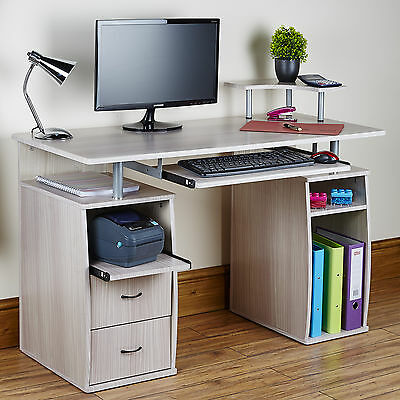 Computer Desk PC Table Study For Home Office Furniture / Workstation Grey Oak