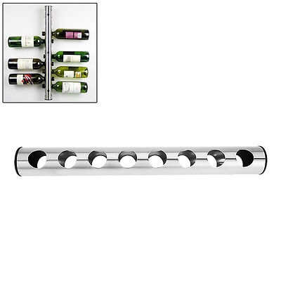 Stainless Steel Wine Rack Bar Wall Mounted Kitchen Holder 8 Bottles New