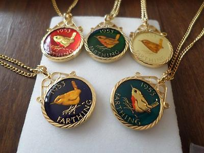 Enamelled 1953 Farthing Coin Pendant & Necklace. Christmas Or Birthday Present