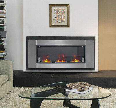 "21"" Wall Mounted Bio Ethanol Fireplace Burner Ventless Stainless Silver & Black"